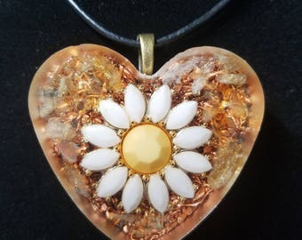 Citrine & Daisy Orgone Pendant for Joy and Happiness