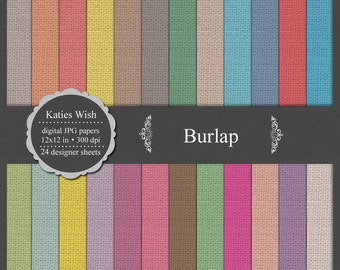 Burlap Digital Scrapbooking Kit commercial use background, texture, fabric, instant download
