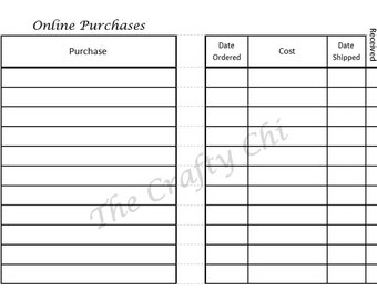 On Line Purchase/Insert For Your Traveler's Notebook - Micro  digital download Printable