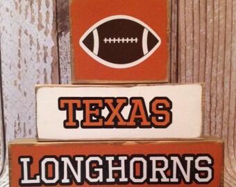Texas Longhorns Football Wood Block Decor