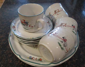 Vintage Winter/Holiday Dinnerware Set - Country Winter Design & Holiday dinnerware   Etsy