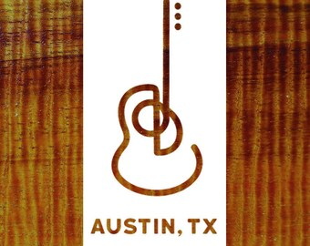 Austin, Texas Guitar Vinyl Sticker Decal