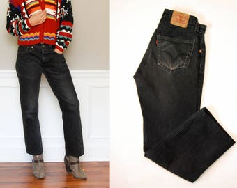 Vintage LEVIS 501 Straight Leg Button Fly Denim Jeans / Men's Faded Black Straight Leg Jeans / 32x30