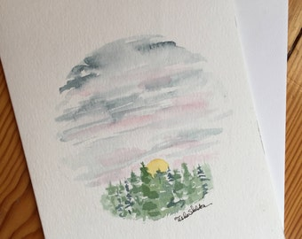An Original Watercolor Note Card, Winter pines.
