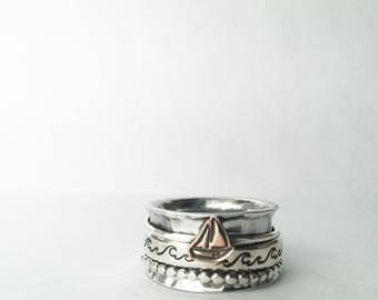 Meditation Ring, Worry ring, Spinning Ring, Fidget Ring, Sterling Silver, Silver Spinner Ring, Anxiety Ring, Silver Ring, Statement Ring