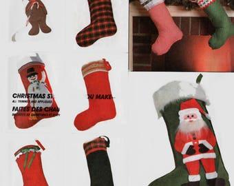 Vintage 1980's Christmas Stocking Package Sewing Pattern McCalls 2083 UNCUT Santa Bear Snow Man