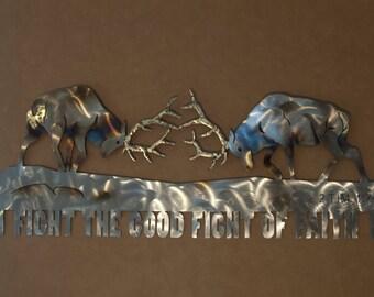 Metal Wall Sculpture of Fighting Elk with Scripture