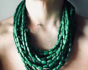 Green necklace, multi-strand necklace, wooden necklace, rich necklace, unique necklace, handmade numbered, mother's gift idea or for her,