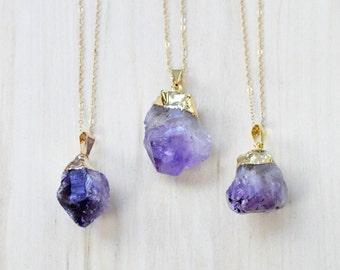 Amethyst Necklace, Boho Necklace, Layering necklace, Crystal Necklace, Gemstone Necklace