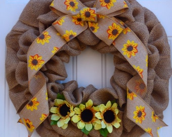 Summer Door Wreath /Sunflower Wreath/Summer Burlap Wreath/Easter Burlap Wreath/Spring Door Wreath/Spring Door Decor/Summer Wreath