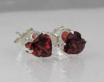 Garnet Heart Earrings in 925 Sterling Silver, Garnet Stud Earrings, 5mm Mozambique Garnet Gemstone, January Birthstone, Red Garnet Jewelry