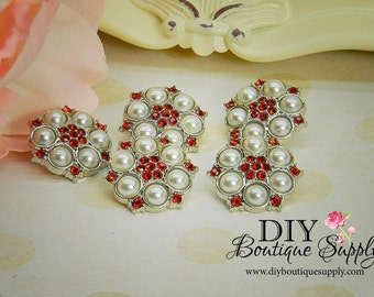 Red Rhinestone & Pearl button Acrylic Flower centers Baby Headband Supplies 5 pcs 25mm 086040
