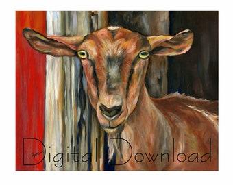 DIGITAL DOWNLOAD Brown Alpine Goat Livestock Barn Animal Art - Royalty Free