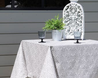 French Provence CHIC GRAY Rectangle Tablecloths - French Oilcloth Stain Resistant Indoor Outdoor Coated Tablecloth -French Table Decor Gifts