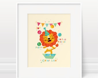 Nursery art, circus nursery art, nursery print, lion print, kids wall art, kids illustration, boys nursery, baby boy gift, childrens art