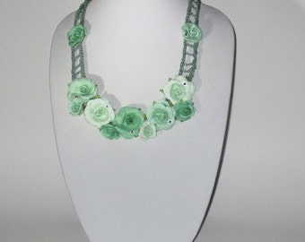 Green Floral Crochet Necklace with Green Roses, Boho Festival Crochet Jewelry