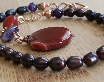 Purple Pearls Amethys Necklace with Gemstone Pendant