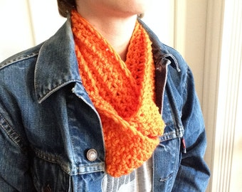 Orange Crocheted Infinity Scarf Cowl -- READY TO SHIP!
