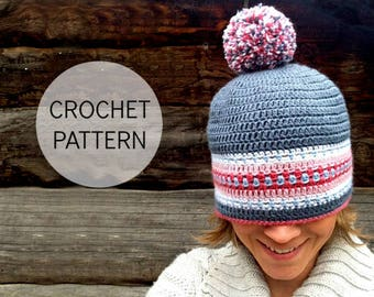 CROCHET pattern - Nordic Hat - Pdf crochet pattern - US, UK and Swedish terms (size child to adult)