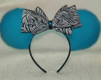 Blue and Zebra Print Mickey Ears