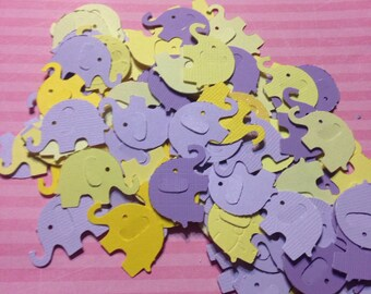 Shades of Yellow and Purple Elephant Confetti -100 count Elephant Die Cut Elephant Table Scatter Baby Shower