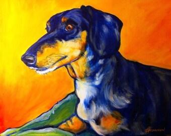Dauschund dog portrait - acrylic on canvas
