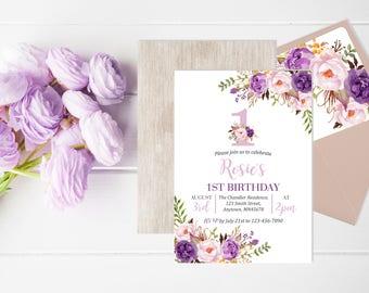 Lilac Purple Boho First Birthday Invite, Printable Floral First Birthday Invitation, Lavender Floral Envelope Liner, Reverse, Download 314-W