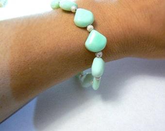 Mint opal gemstone bracelet- Green opal silver elegant bracelet- Stone boho jewelry- Women fashion bracelet- Women gift
