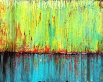 Autumn Sky Original Painting By Artist Rafi Perez Mixed Medium on Canvas 18X24