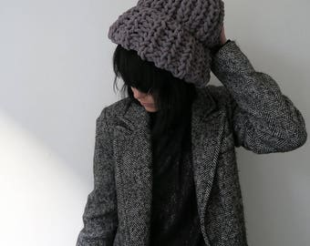 Women's knit hat, big knit beanie, hand knitted chunky hat, cosy winter hat