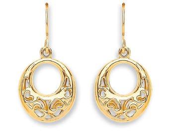 9ct Yellow Gold Filigree Hearts Oval Shaped Drop Hook Earrings
