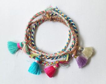 Boho friendship bracelet with mini tassel   bohemian   adjustable bracelet