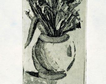 Original Fine Art Etching, Vase with flowers