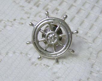 Nautical SHIPS WHEEL Lapel Pin - Tie Tack - Steampunk - Silver - Tie Tac