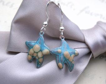 Enameled Star fish earrings - Turquoise enamel with Sterling earwires