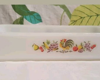 Vintage Fire King Anchor Hocking Chanticleer Rooster Rectangle Baking Pan