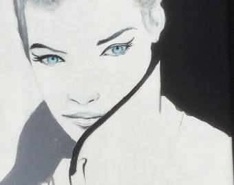 Contemporary art, blue eyes, acrylic on canvas - blue eyes - acrylic painting