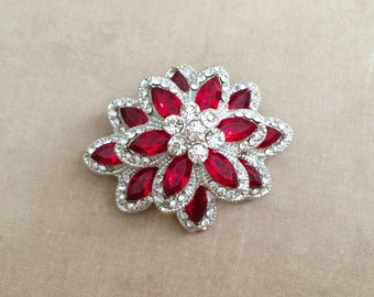 Red brooch, rhinestone brooch, candy cane, red ruby jewelry, christmas gift, for her, christmas brooch, Christmas jewelry, christmas,