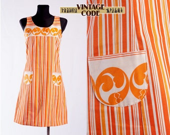 Orange White Red Original 60s Mod A line mini dress / Sleeveless  Vertically striped 60s Cotton Pocket dress  /  size Small