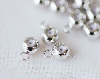 20pcs Silver Rondelle Rubber Stopper Beads with Loop, Rhodium plated Brass Charm Holder Connector (GB-249)
