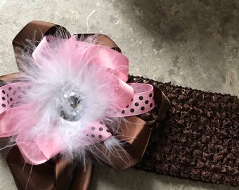 Pink and Brown Boutique Feathered  Hairbow Ready to Ship