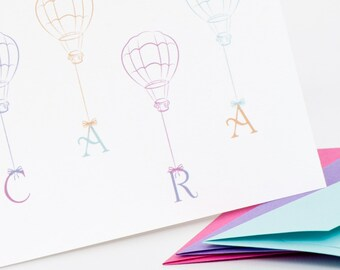 Stationery Set, Hot Air Balloon Personalized Stationery Set (20) plus Matching Address Labels