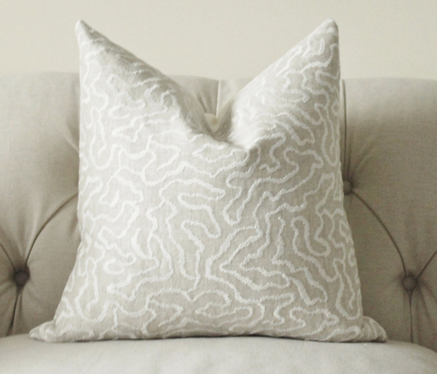 Schumacher Pillow Cover Greige Pillow Grey Beige Off White