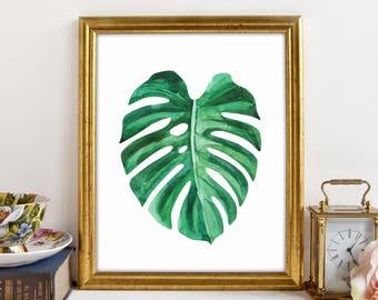 Monstera, Monstera Leaf Art, Monstera Art Print, Palm Leaf Print, Banana Leaf Print, Wall Art, Tropical Leaf Prints, Printable Art, Download