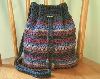 Crochet Crossbody Drawstring Bag Gray Blue Purple Stripes Lined