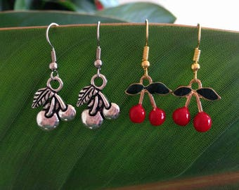 Silver | Red Cherry Earrings Fruit
