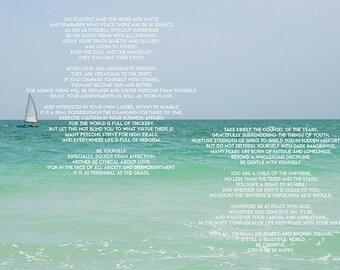 Poem Art Desiderata Print, Minimalist Beach Photography, Beach Print Decor Max Ehrmann Literary Quote Print, Florida Art inspirational gift