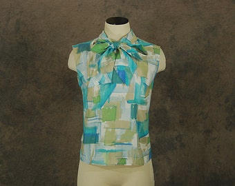 vintage 60s Sleeveless Blouse - 1960s Watercolor Print Ascot Bow Sleeveless Shirt Sz M