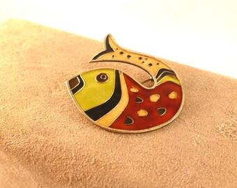David Andersen Sterling & Enamel Modern Art Fish Pin/Brooch-Lg