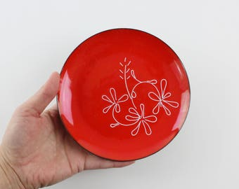 Vintage Copper Enamel Plate - Red Plate White Flowers - Mid Century Modern Catch All Dish